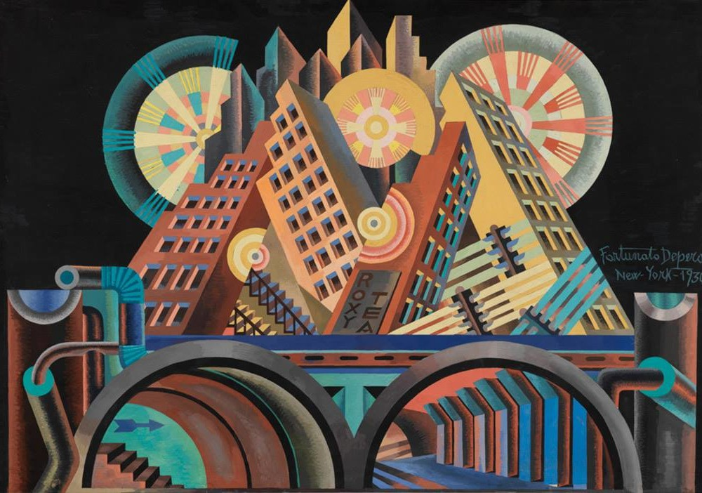 Fortunato-Depero-Skyscrapers-and-Tunnels-Gratticieli-e-tunnel-1930
